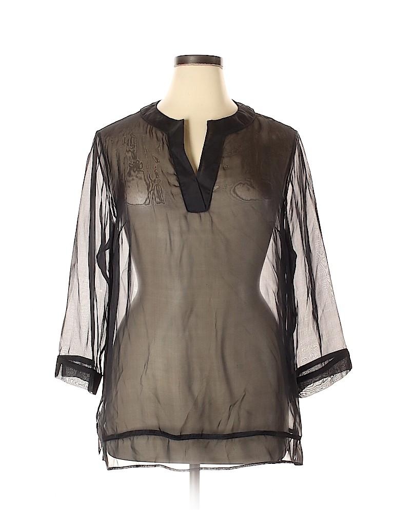 Lafayette 148 New York Women 3/4 Sleeve Silk Top Size 14
