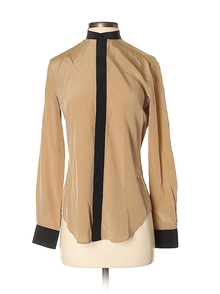 Ralph Lauren Black Label Women Long Sleeve Silk Top Size 4