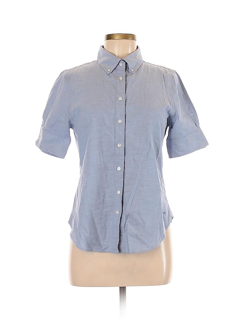 Dockers Women Short Sleeve Button-Down Shirt Size M (Petite)