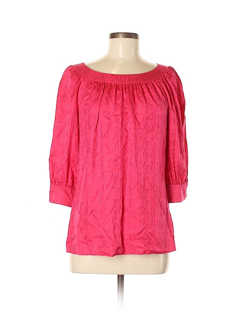 Trina Turk Women 3/4 Sleeve Silk Top Size M