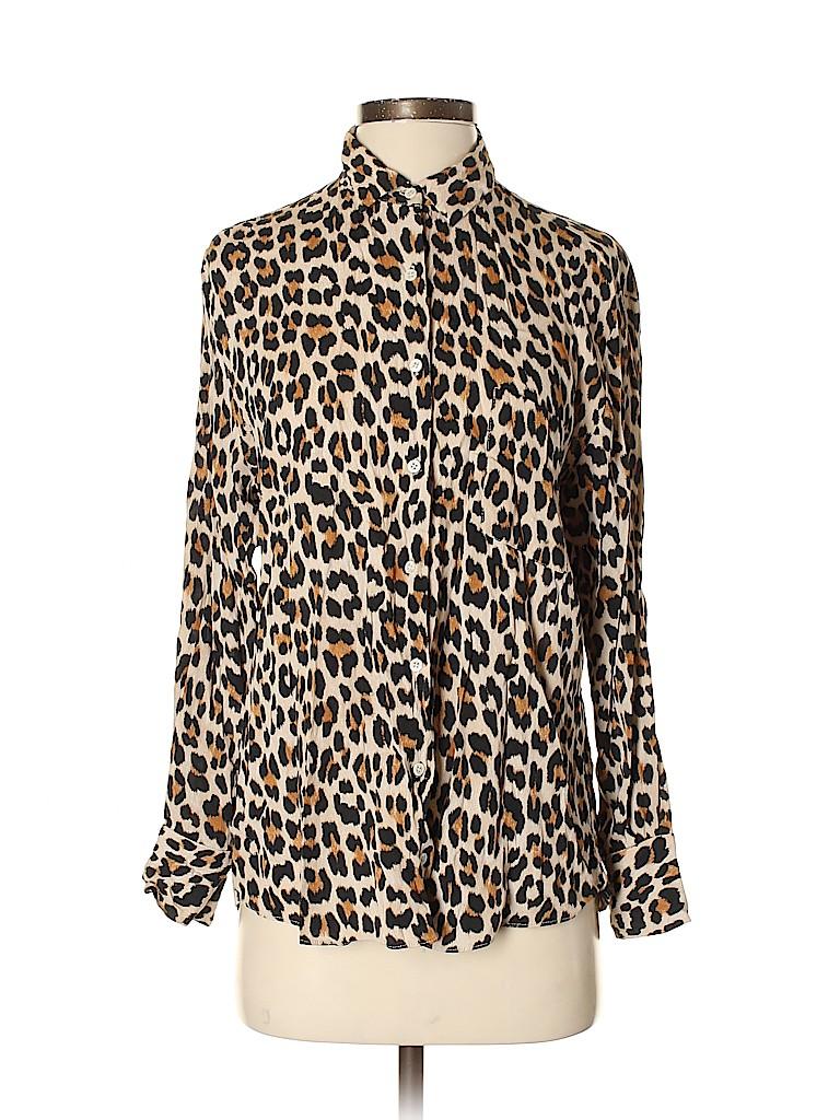 0e5b43b22b30 Zara 100% Viscose Animal Print Beige Long Sleeve Blouse Size S - 54 ...