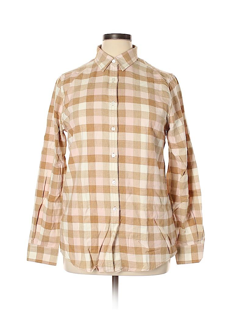 Lands' End Women Long Sleeve Button-Down Shirt Size 14 (Tall)