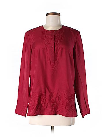 INC International Concepts Long Sleeve Silk Top Size 6
