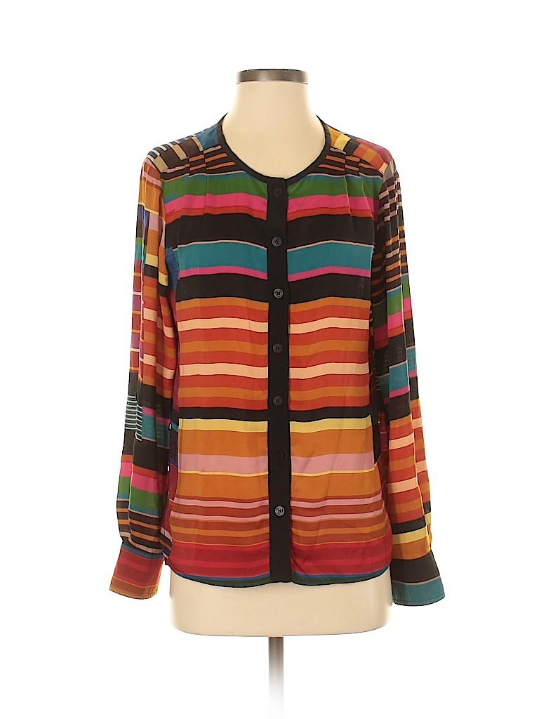 Trina Turk Women Long Sleeve Silk Top Size S