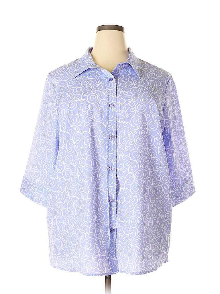 Blair Women 3/4 Sleeve Button-Down Shirt Size 2X (Plus)