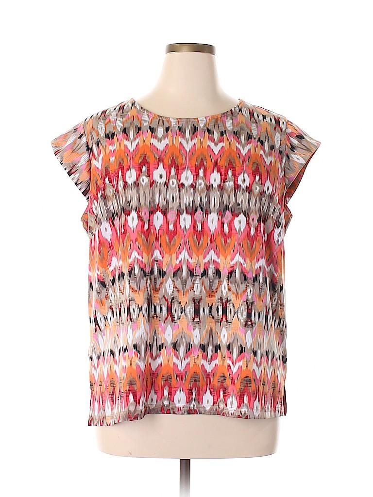 Roz & Ali Women Short Sleeve Blouse Size 2X (Plus)