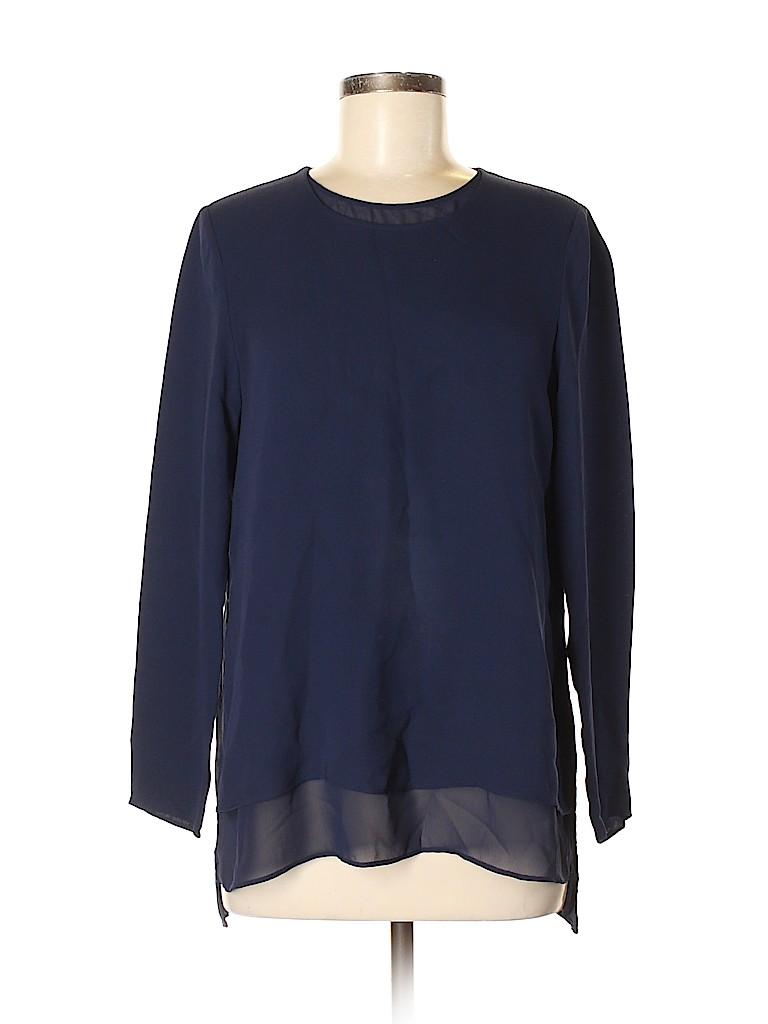 Lafayette 148 New York Women Long Sleeve Silk Top Size M
