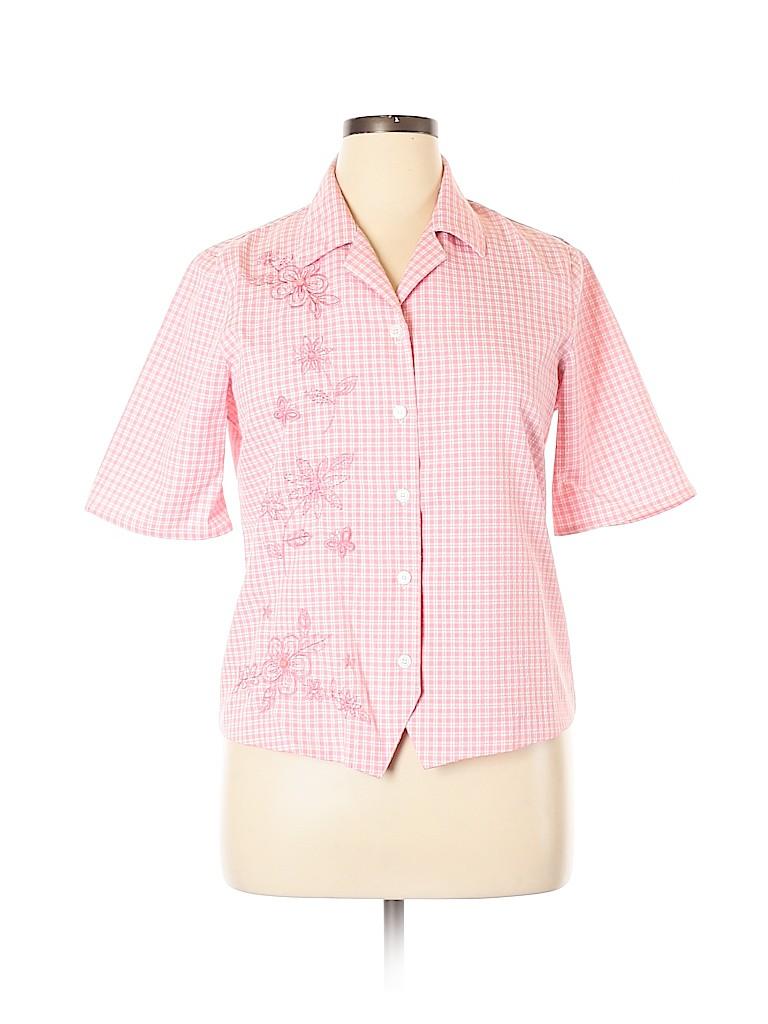 Alfred Dunner Women Short Sleeve Button-Down Shirt Size 12