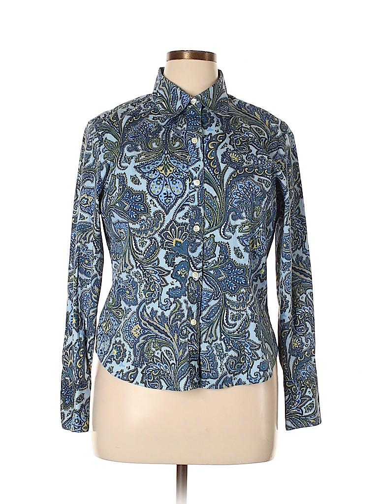 Villager Women Long Sleeve Button-Down Shirt Size 16