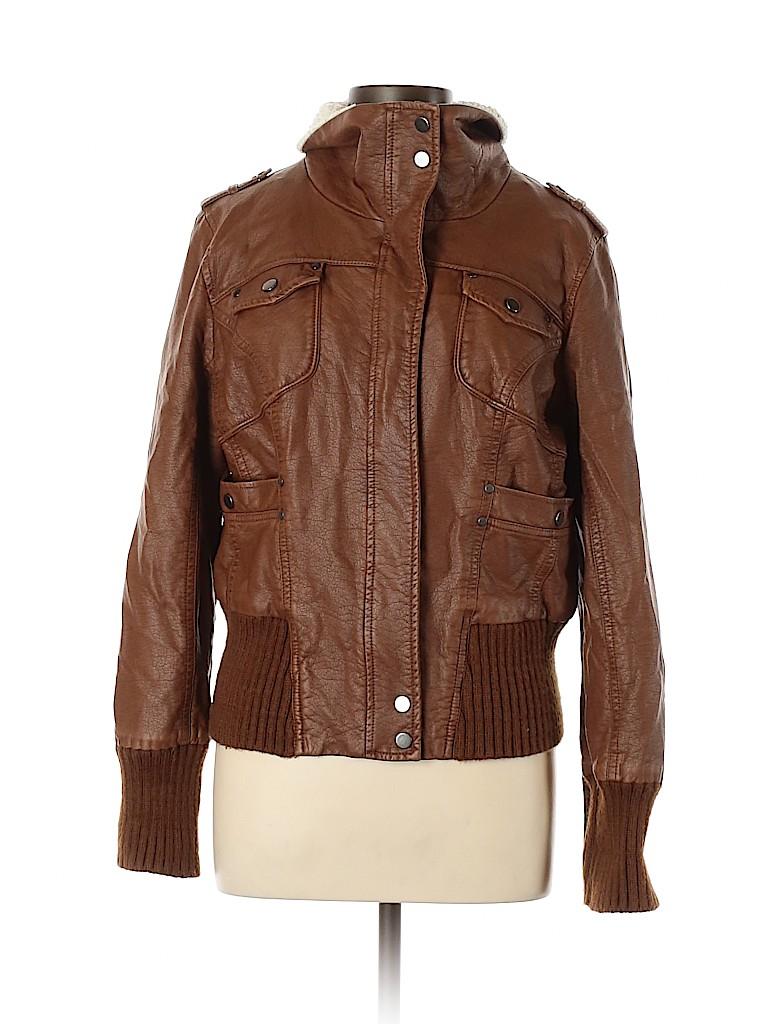 B by Bernardo Women Faux Leather Jacket Size L