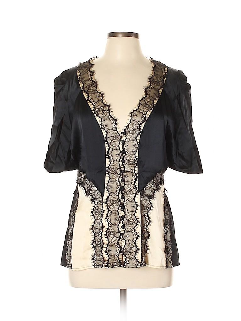 BCBGMAXAZRIA Women Short Sleeve Silk Top Size L