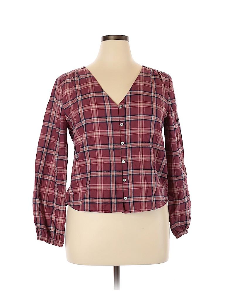 Madewell Women Long Sleeve Button-Down Shirt Size L