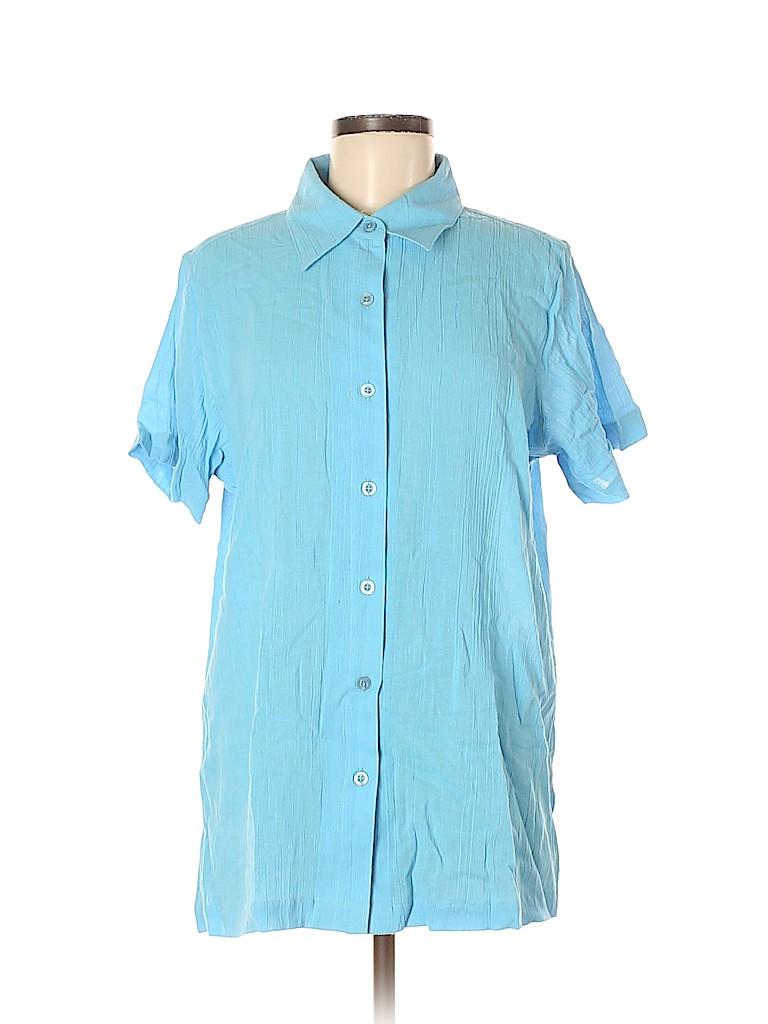 Blair Women Short Sleeve Button-Down Shirt Size M