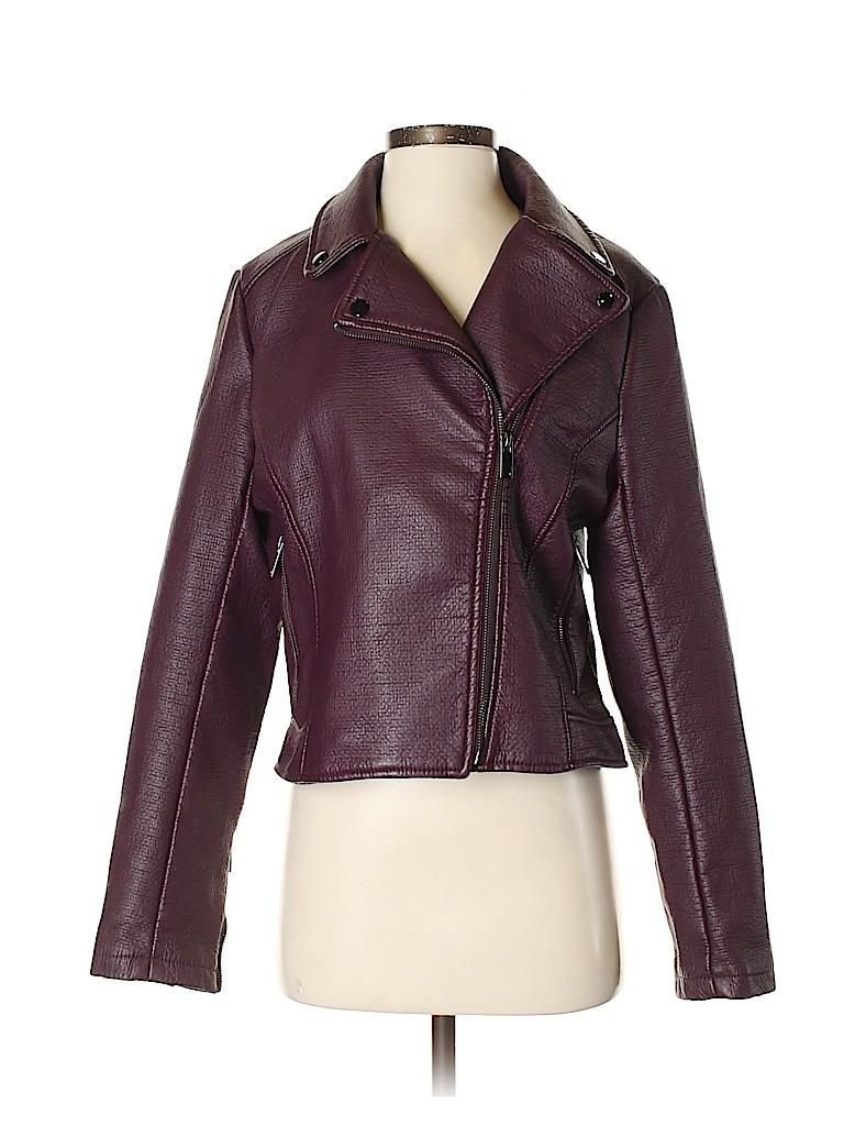 New York & Company Women Faux Leather Jacket Size M