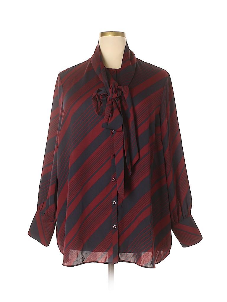 Lands' End Canvas Women Long Sleeve Blouse Size 22 (Plus)