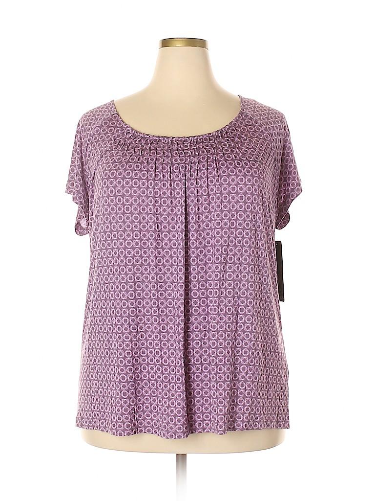 Daisy Fuentes Women Short Sleeve Blouse Size 1X (Plus)
