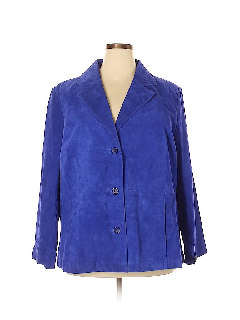 Jessica London Women Leather Jacket Size 20 (Plus)