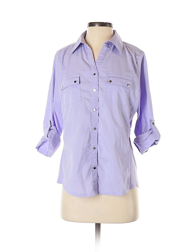 Croft & Barrow Women 3/4 Sleeve Button-Down Shirt Size M