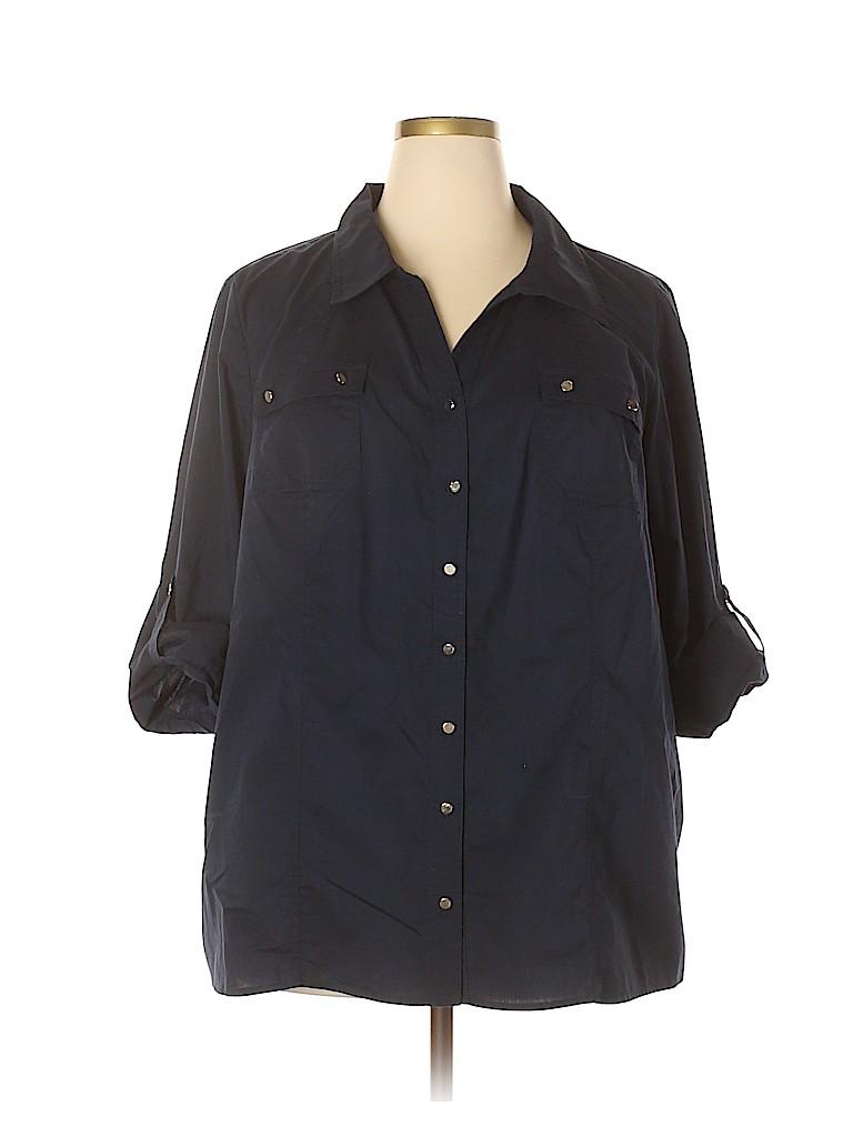 Cj Banks Women 3/4 Sleeve Button-Down Shirt Size 3X (Plus)