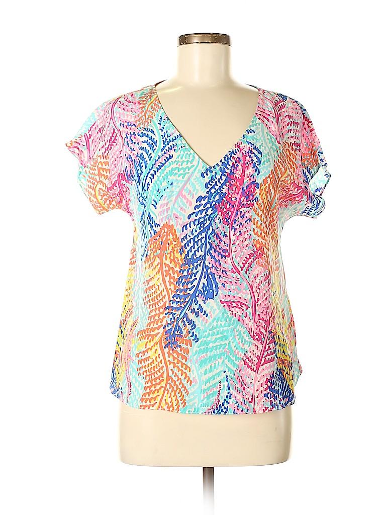 Lilly Pulitzer Women Short Sleeve Silk Top Size XS