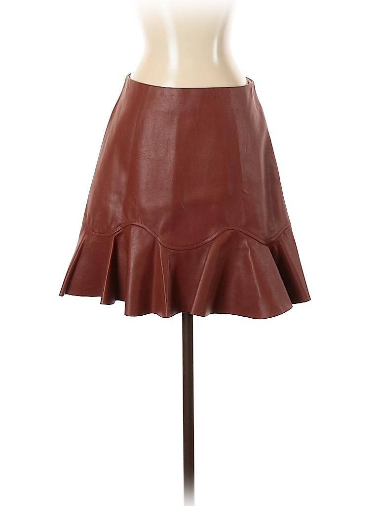 Rebecca Taylor Women Faux Leather Skirt Size 4