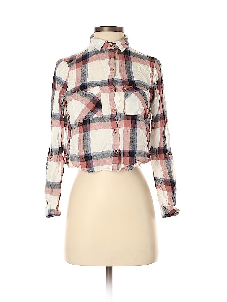 Polly & Esther Women Long Sleeve Button-Down Shirt Size S