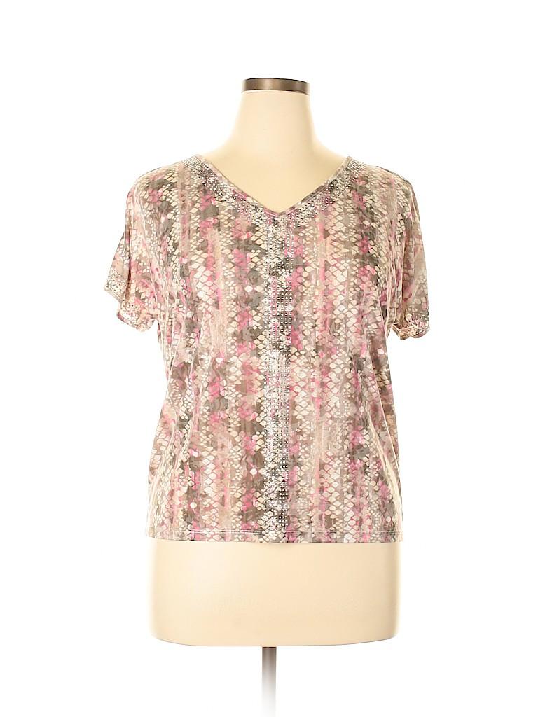 INC International Concepts Women Short Sleeve Top Size XL