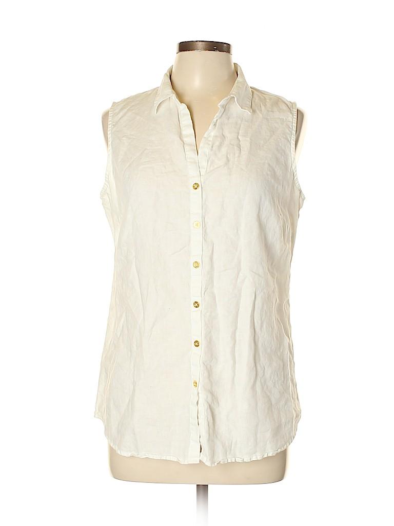 Ellen Tracy Women Sleeveless Button-Down Shirt Size L