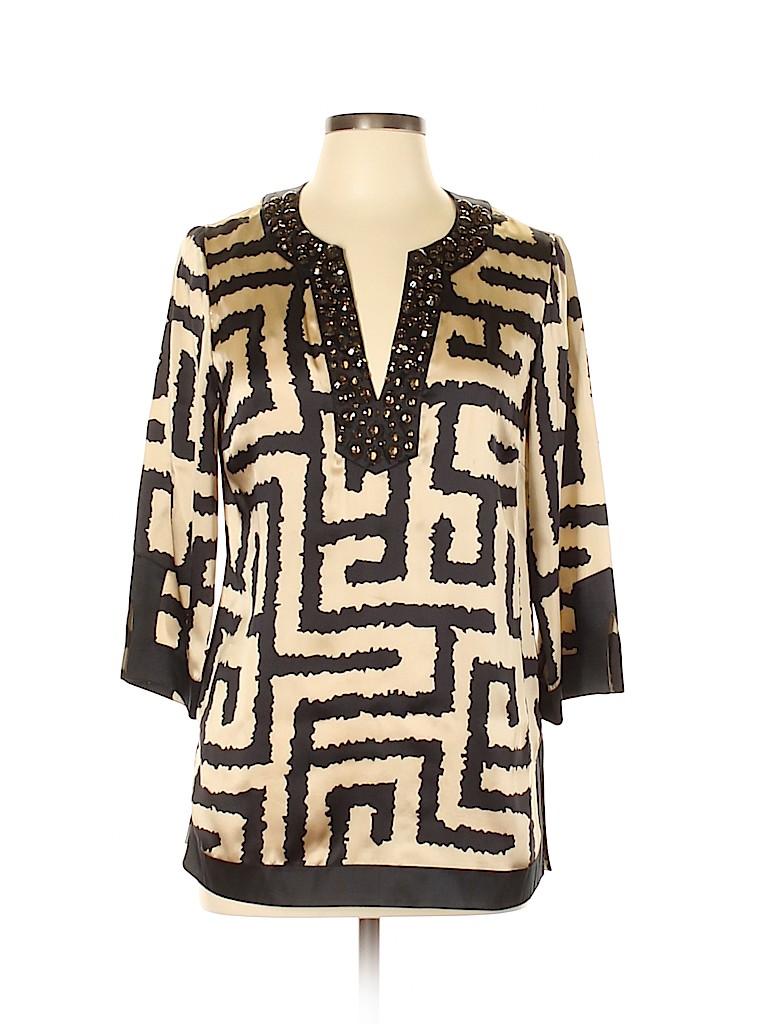 INC International Concepts Women 3/4 Sleeve Silk Top Size 6