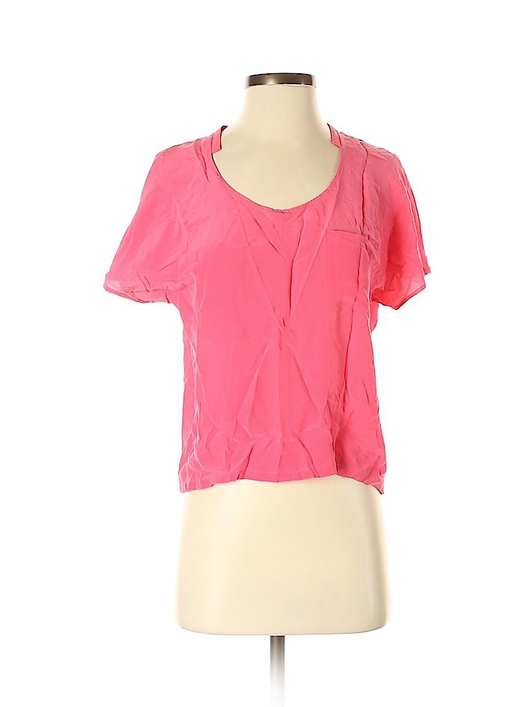 Club Monaco Women Short Sleeve Silk Top Size S