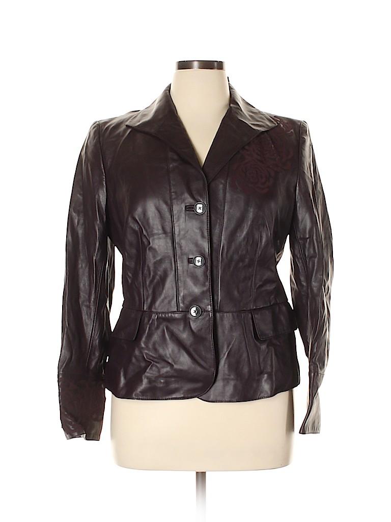 Ellen Tracy Women Leather Jacket Size 14