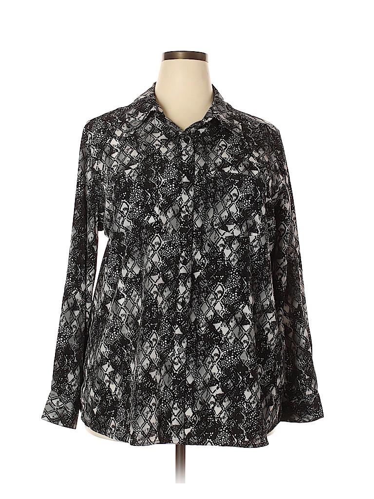George Women Long Sleeve Blouse Size 1X (Plus)