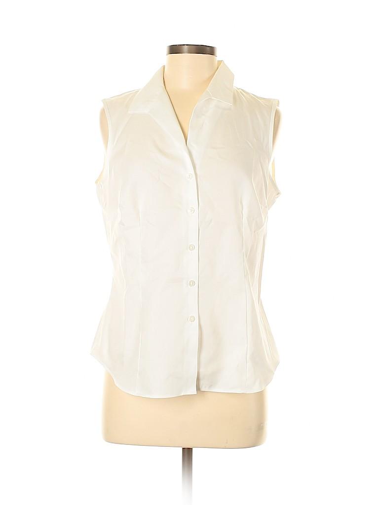 Evan Picone Women Sleeveless Button-Down Shirt Size 8