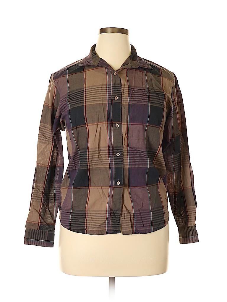 Diane von Furstenberg Women Long Sleeve Button-Down Shirt Size 12