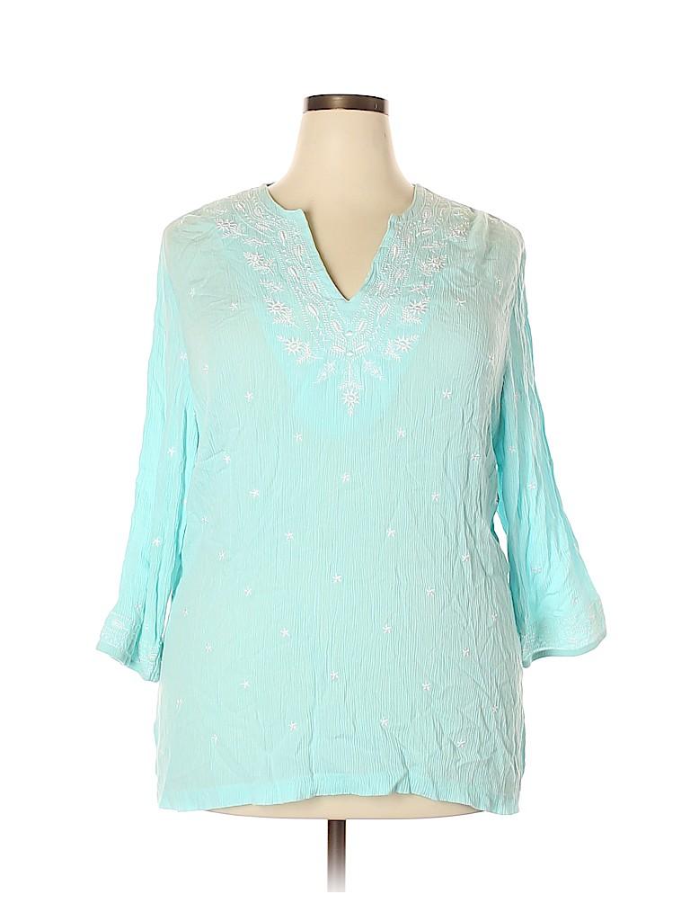 Cathy Daniels Women 3/4 Sleeve Blouse Size 1X (Plus)
