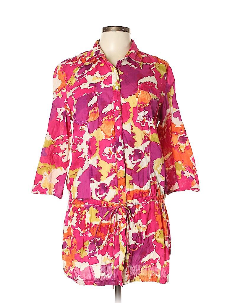 Nine West Women 3/4 Sleeve Button-Down Shirt Size L