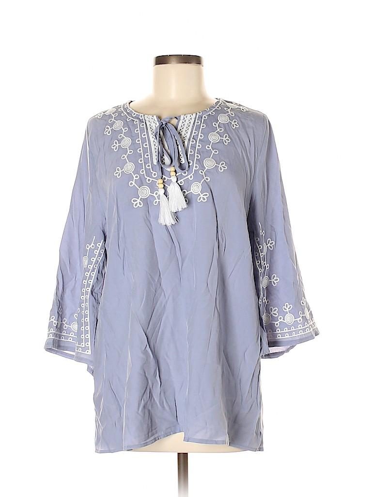 Brand Unspecified Women 3/4 Sleeve Silk Top Size M