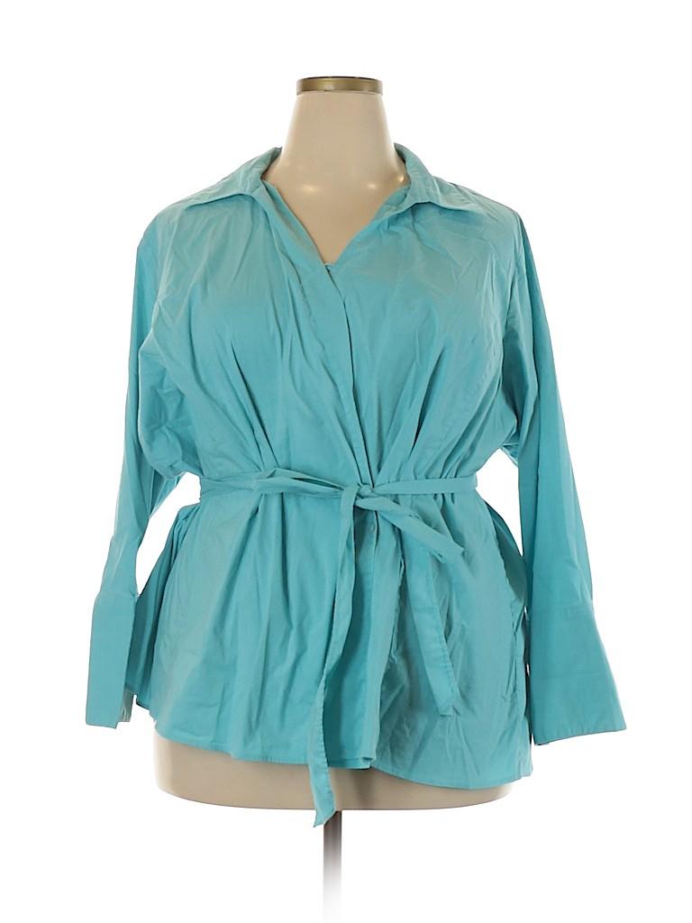 Lands' End Women Long Sleeve Blouse Size 32 (Plus)
