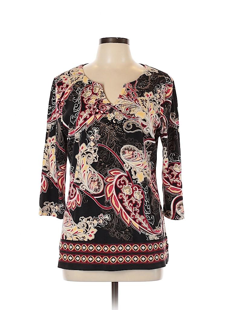 Karen Scott Women 3/4 Sleeve T-Shirt Size XL