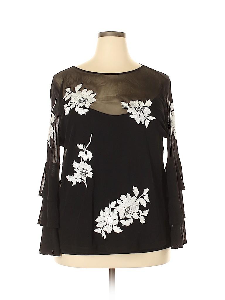 INC International Concepts Women 3/4 Sleeve Top Size 1X (Plus)