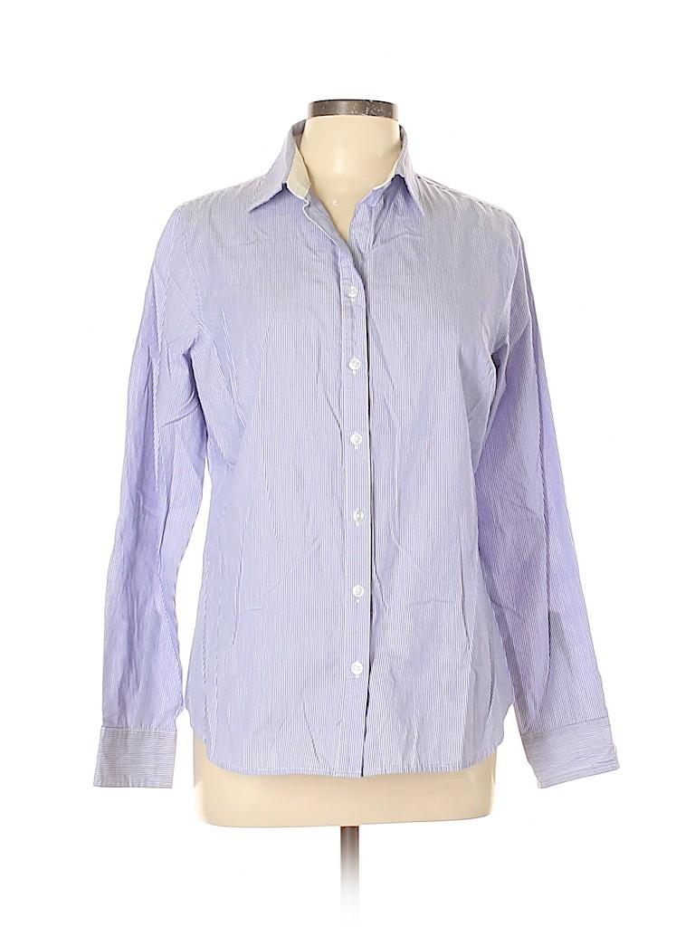 George Women Long Sleeve Button-Down Shirt Size L
