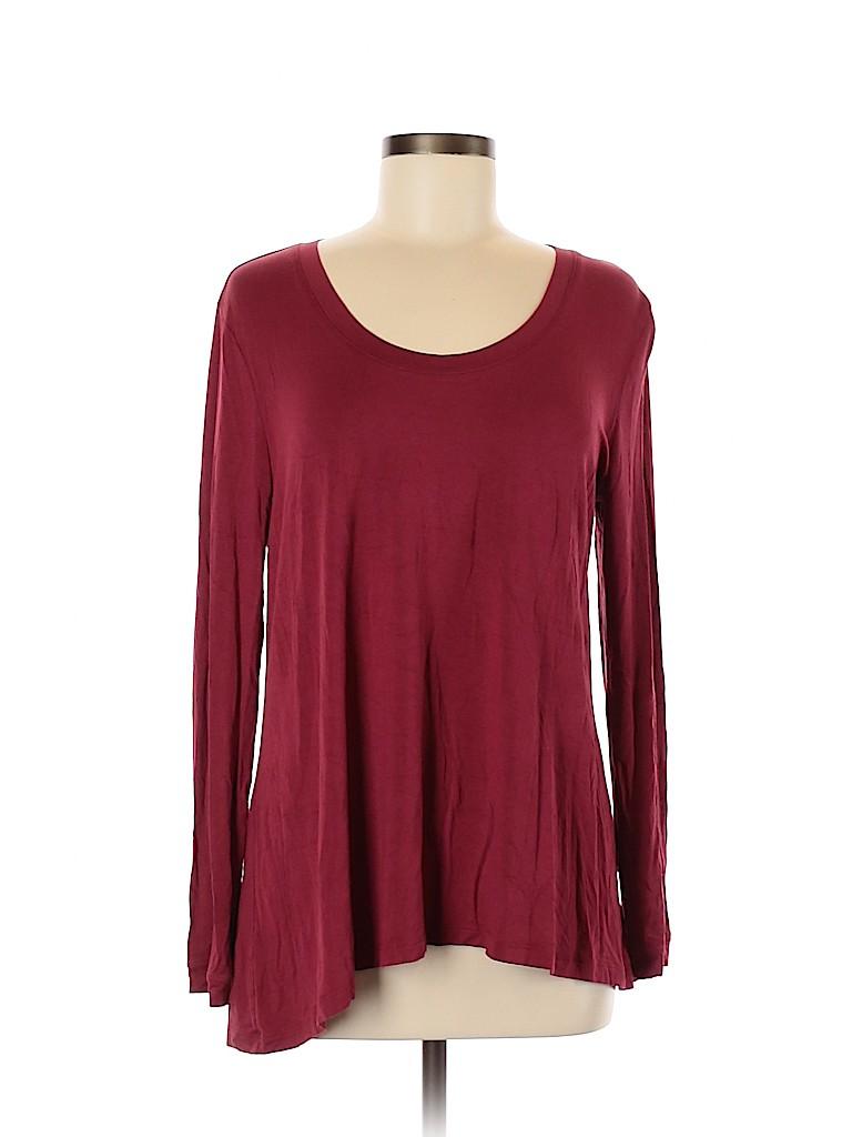 H By Halston Women Long Sleeve T-Shirt Size M