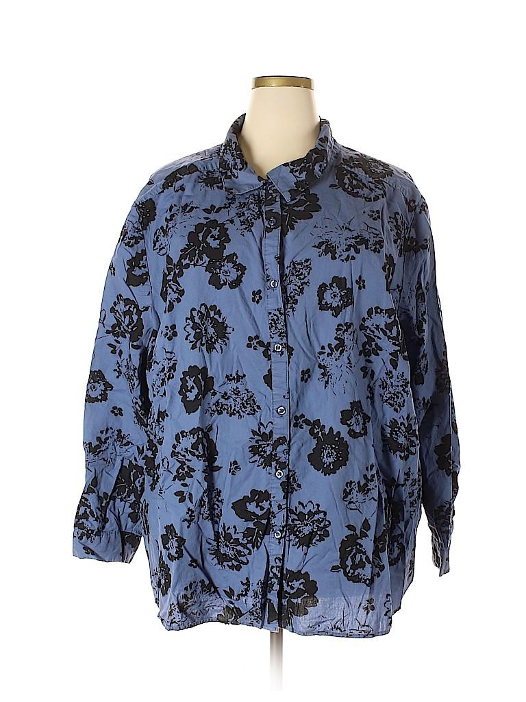 Roaman's Women Long Sleeve Button-Down Shirt Size 36 (Plus)