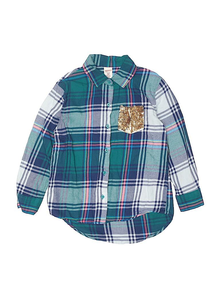 Arizona Jean Company Girls Long Sleeve Button-Down Shirt Size S (Youth)
