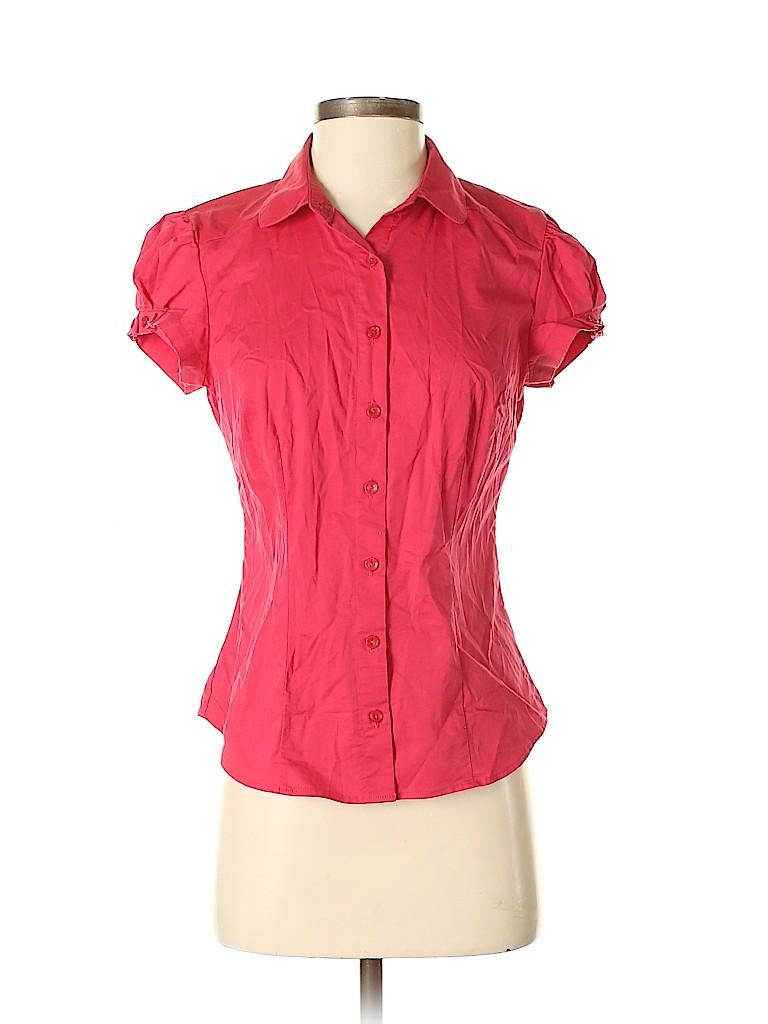 Willi Smith Women Short Sleeve Button-Down Shirt Size S