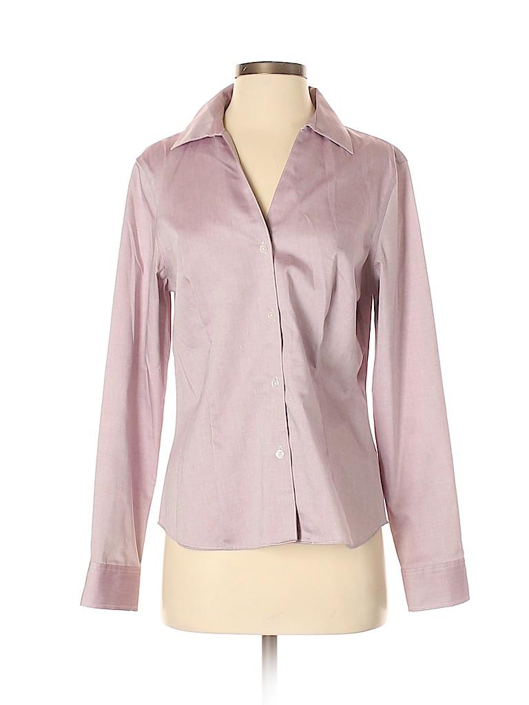 Jones New York Signature Women Long Sleeve Button-Down Shirt Size M