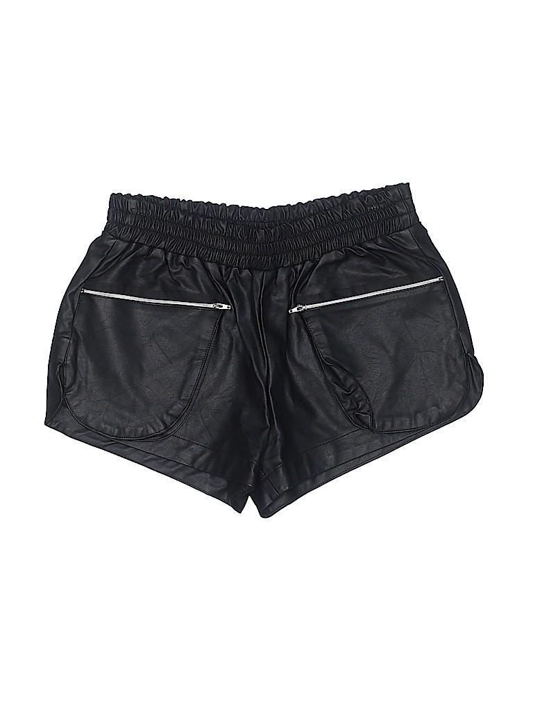 Olivaceous Women Faux Leather Shorts Size M