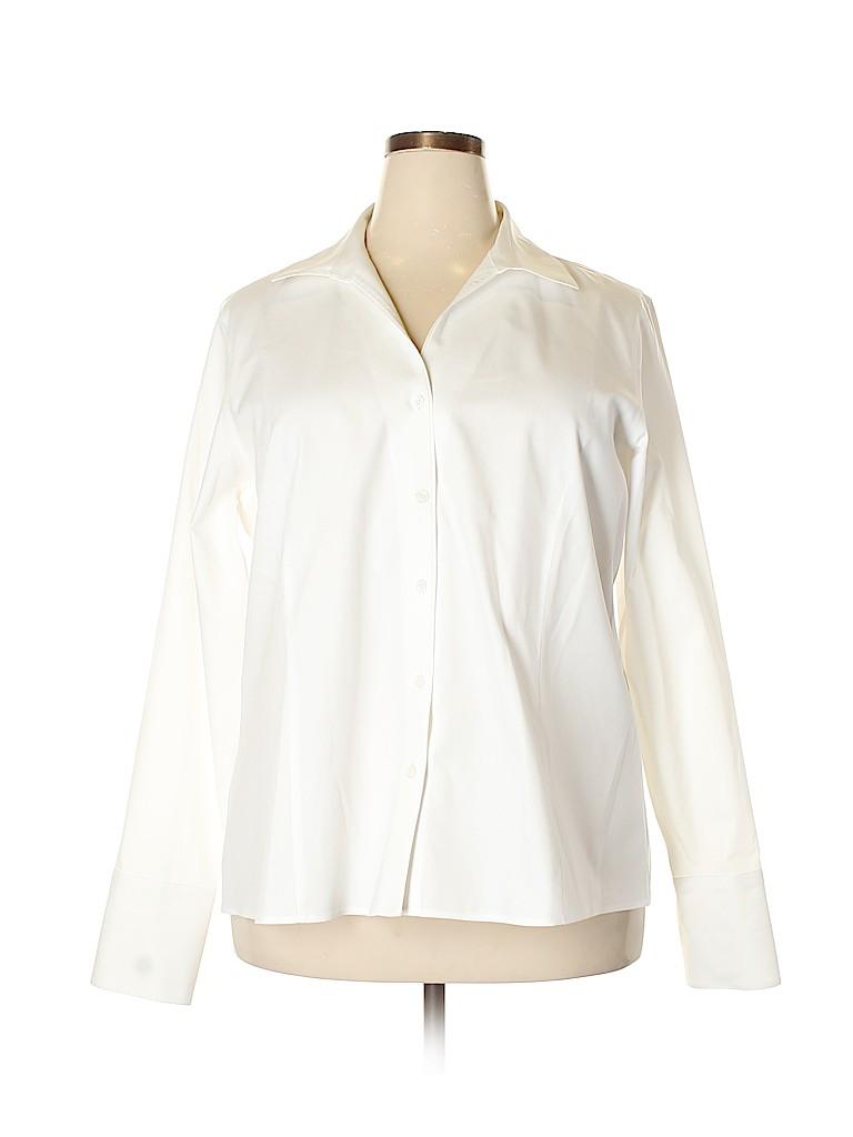 Jones New York Signature Women Long Sleeve Button-Down Shirt Size 20 (Plus)