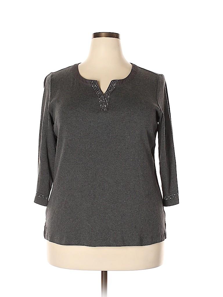 Karen Scott Women 3/4 Sleeve Top Size 1X (Plus)