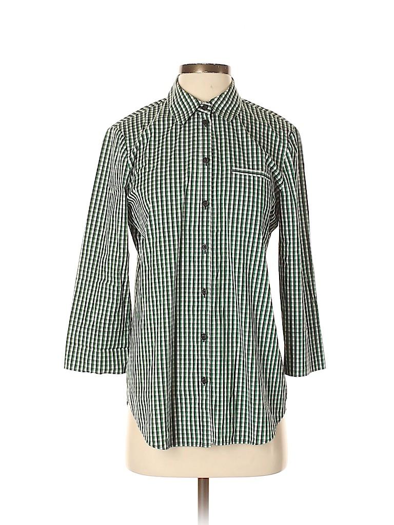 Lafayette 148 New York Women 3/4 Sleeve Button-Down Shirt Size S